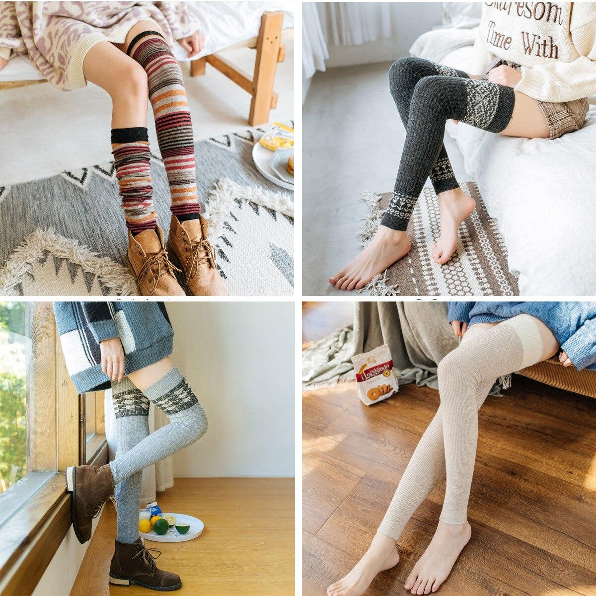 Осенне-зимние длинные чулки до колена из кроличьей шерсти с высокими сапогами женские носки леггинсы с чулками защита от голени