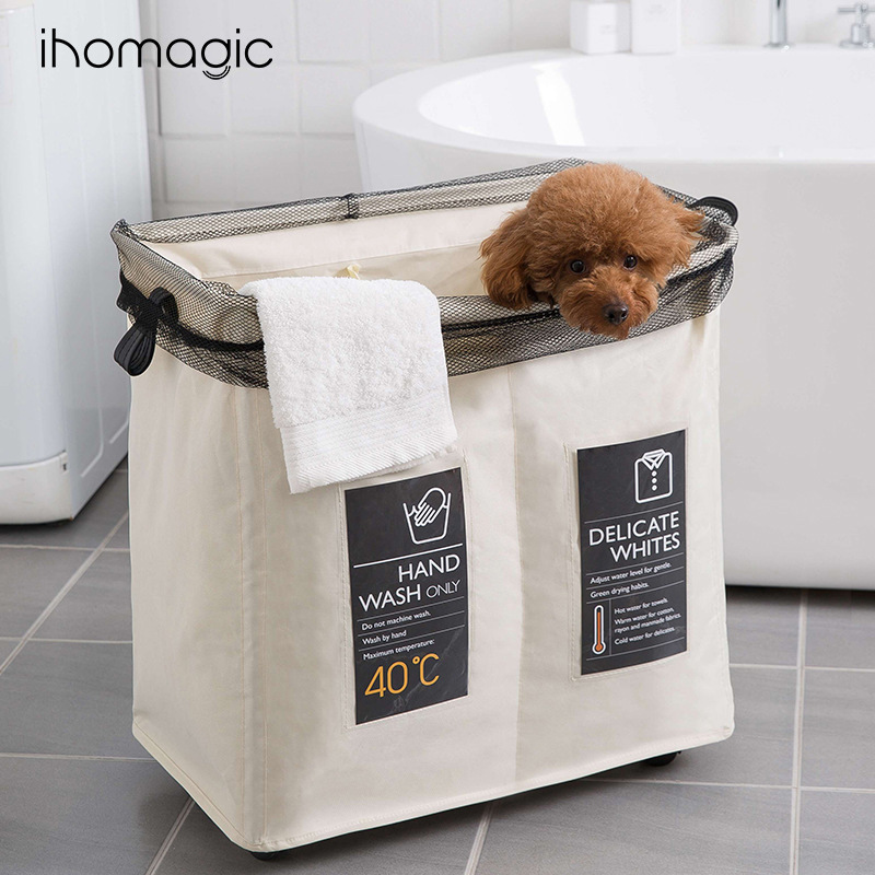 Clothes Storage Foldable Storage Box And Double-Partition Mesh Scrunch Top Garment Bag With Wheels Alloy Frame Laundry Basket