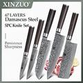 XINZUO 5 шт. набор кухонных ножей из дамасской стали набор ножей для шеф-повара из нержавеющей стали нож для шеф-повара Pakkawood ручка столовые приб...