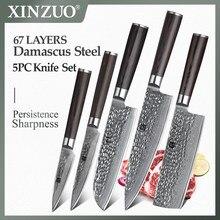 XINZUO 5 pcs Kitchen Knife Set Damascus Steel Chef Knife set Stainless Steel Chef Utility Knife Pakkawood Handle Cutlery Slice