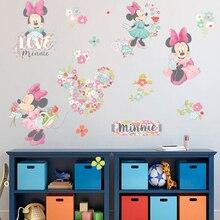 Minnie Mouse de Disney con flor de pared de PVC pegatinas para las niñas habitación fiesta a casa decoración cartel pared dibujos animados arte mural bricolaje casa calcomanías