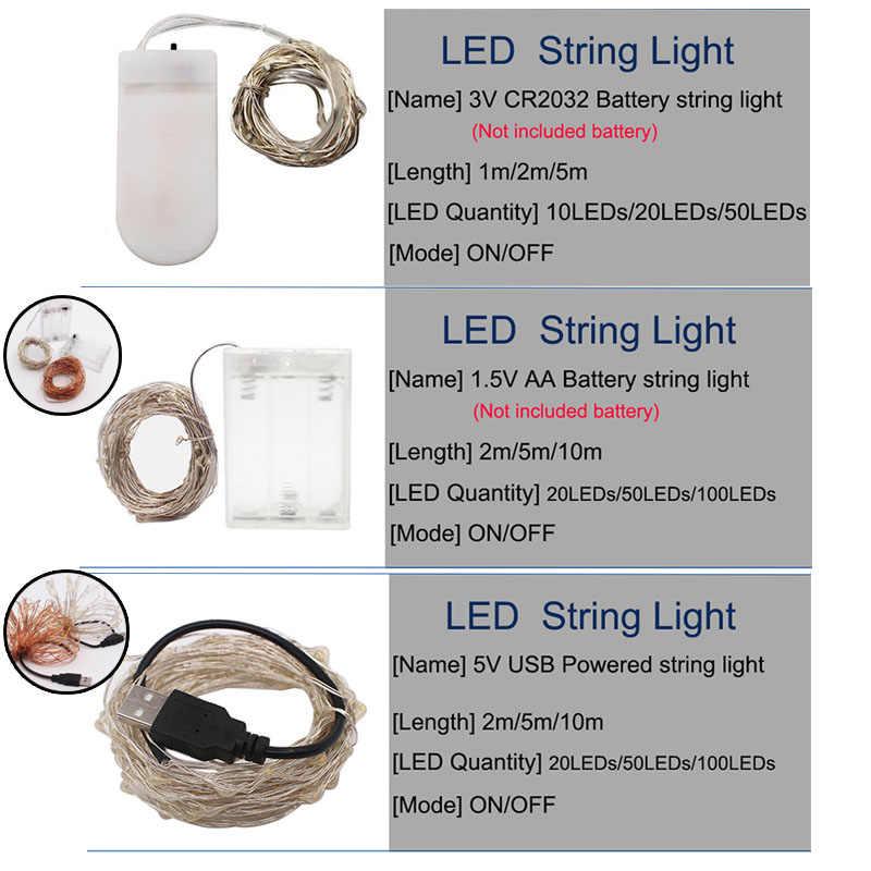 10M 5M 2M doprowadziły światła ciąg srebrny drut wróżka światło boże narodzenie ślub Party USB taśmy LED lampa dekoracji zasilany z baterii