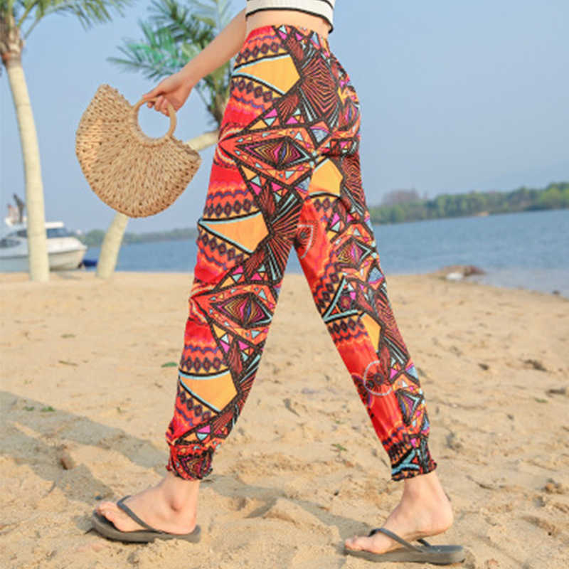 Повседневные штаны размера плюс с принтом, Женские винтажные летние штаны с эластичным поясом, женская уличная одежда, богемные брюки, сексуальные пляжные Капри для девушек