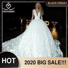 Swanskirt Vestido de novia de satén con cuello en v, traje de novia de satén con apliques de mariposa, Vestido de novia de la capilla Train de talla grande, HZ10, 2020
