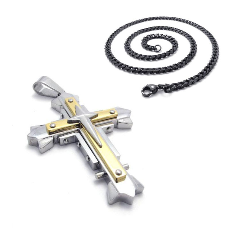 EDC Self Defense Titanium Steel Gold Cross Necklace Bracelet Rotating Stainless Steel Necklace Scripture Men's Jewelry Pendant