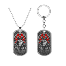 Hot Games Metro Exodus Skull Pendant Keychain Metal Key Chain Charm Halloween Key Rings for Women Men game metro 2033 keychain letter metro exodus skull dog tag pendant key chain for men car keyring llaveros jewelry