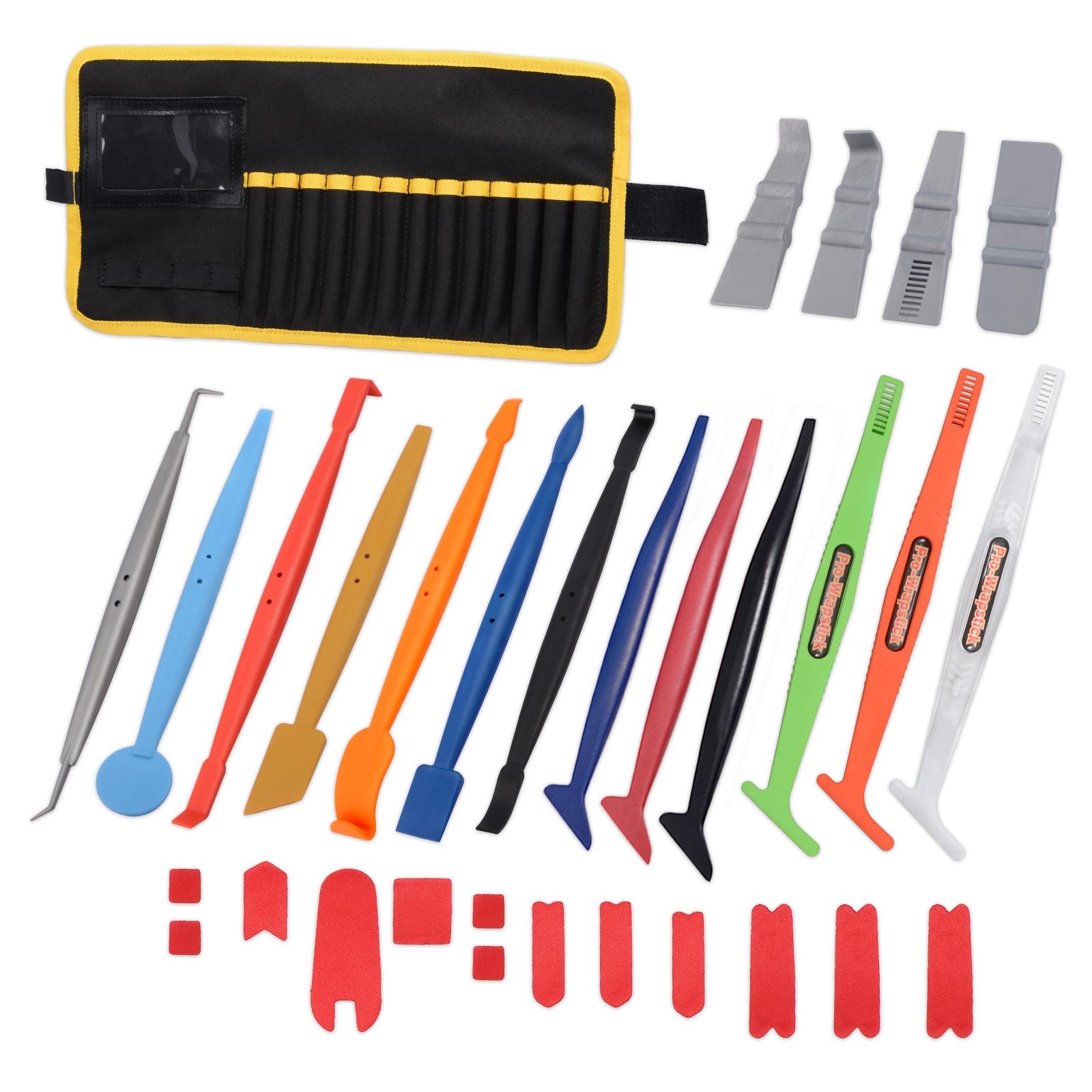 Ehdis 31 pçs vinil filme carro envoltório etiqueta raspador ímã rodo kit com saco saco janela matiz ferramenta acessórios de automóvel
