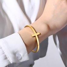 Bracelet en acier inoxydable pour hommes et femmes, manchette croisée ouverte sur le côté, cadeau minimaliste