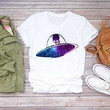 Футболка женская с рисунком топ мультяшным инопланетянином винтажная
