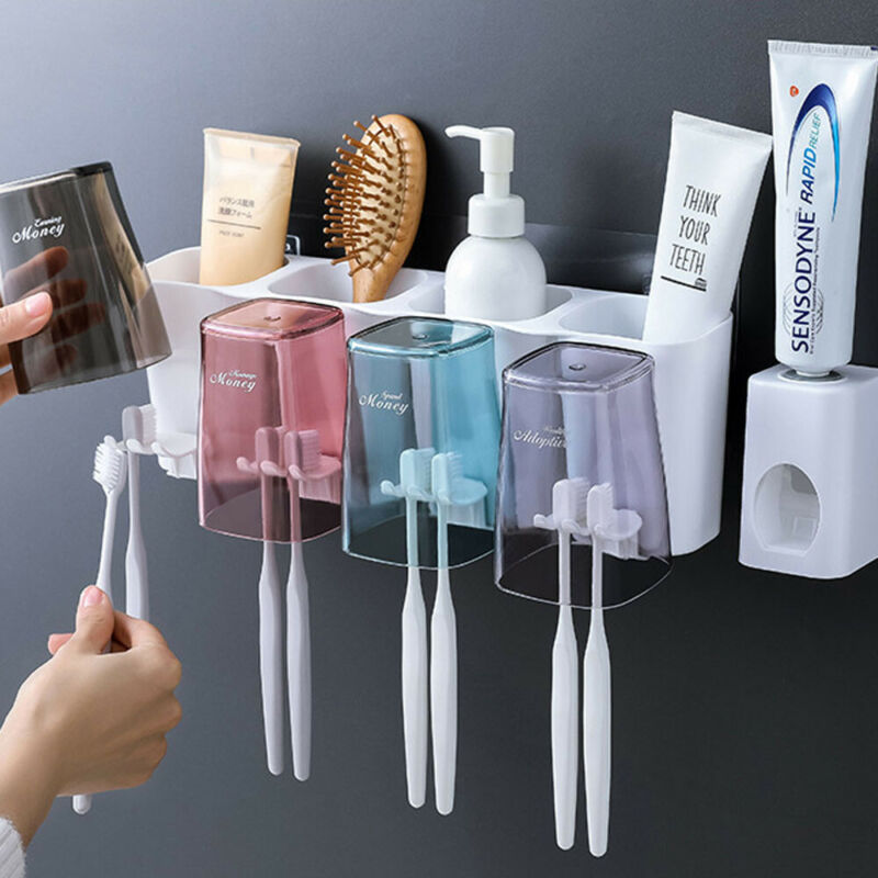 Toothpaste Toothbrush Holder Bathroom Wall Mount Stand Storage Organizer Rack Useful Spinbrush Suction Holder Walls Mount Rack image