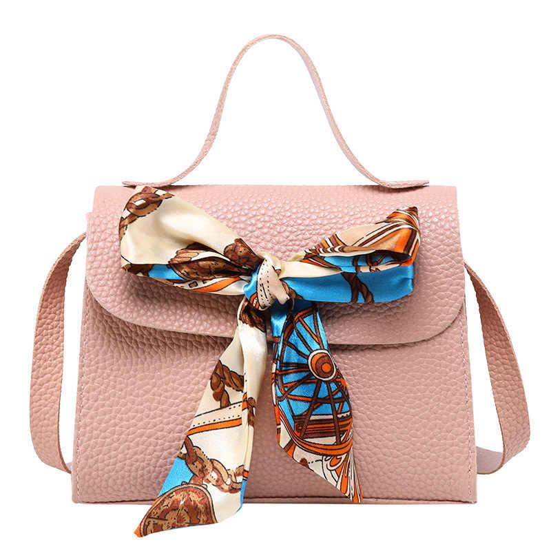 2020 Hot moda damska torba kurierska ze skóry PU Crossbody na ramię torebka z łańcuszkiem mała na co dzień solidna Lychee Silk Scarf Tote