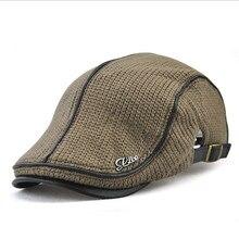 Chapéu quente feito malha do inverno do tampão da boina de lã dos homens para o tampão liso masculino da viseira do duckbill