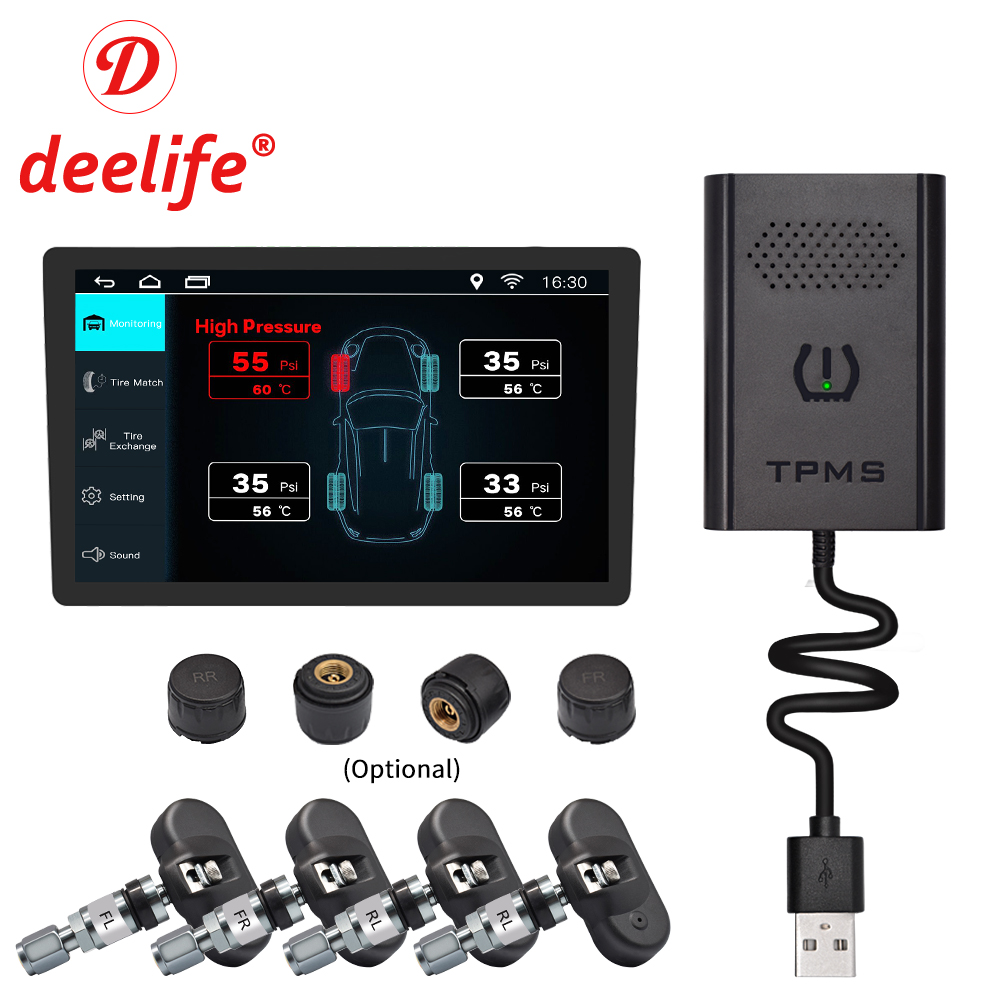 Deelife USB TPMS Android Tire Pressure Monitoring System External Internal Sensor For Car GPS Navigation Multimedia DVD Player