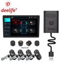 Deelife USB TPMS Android Sistema di Monitoraggio Della Pressione Dei Pneumatici Esterna Sensore Interno per il GPS per Auto Multimediale di Navigazione Lettore DVD