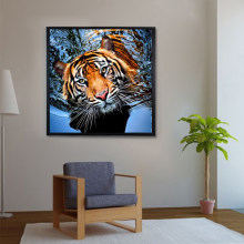 5D Diy Diamond Painting Cross Stitch Kit Diamond Mosaic Fierce Tiger According to Decorative Painting Living Room Bedroom Gift