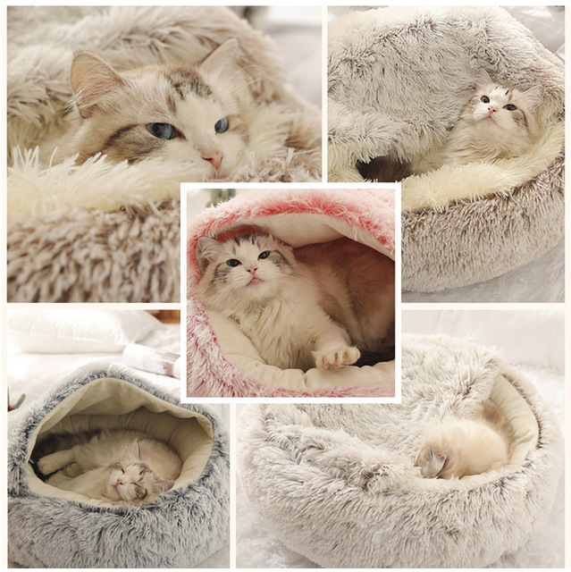 HOOPET New Style Pet Dog Cat Bed Round Plush Cat Warm Bed House Soft Long Plush Bed For Small Dogs For Cats Nest 2 In 1 Cat Bed- 6
