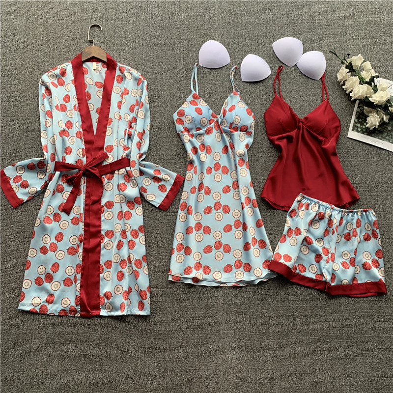 Daeyard Silk Pajamas For Women Overall Printing 4 Pieces Pyjamas Set Satin Pijamas Mujer Sleepwear Sexy Nightwear Home Clothes