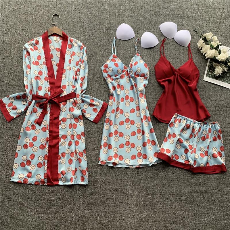 Daeyard Silk Pajamas For Women Overall Printing 4 Pieces Pyjamas Set Satin Pijamas Mujer Sleepwear Sexy Nightwear Home Clothes