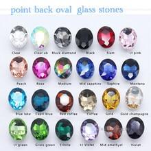 Todo-tamanho oval pointback cristal cristal strass diamantes contas de pedras extravagantes para sapatos, saco, roupas, artesanato diy material de jóias
