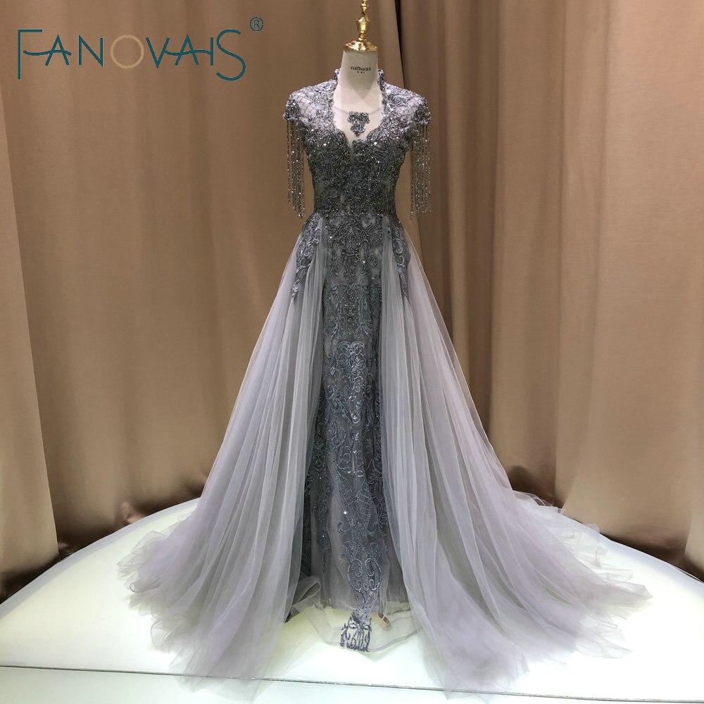 Robes de soirée en argent avec perles longues Robe de soirée Fiesta 2019 robes de bal pour femmes dinde