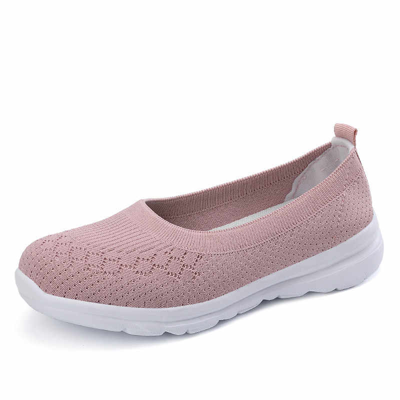 PINSEN 2020 새로운 여성 플랫 신발 통기성 메쉬 캐주얼 여름 신발 여성 슬립 온로 퍼 여성 숙 녀 플랫 신발 신발