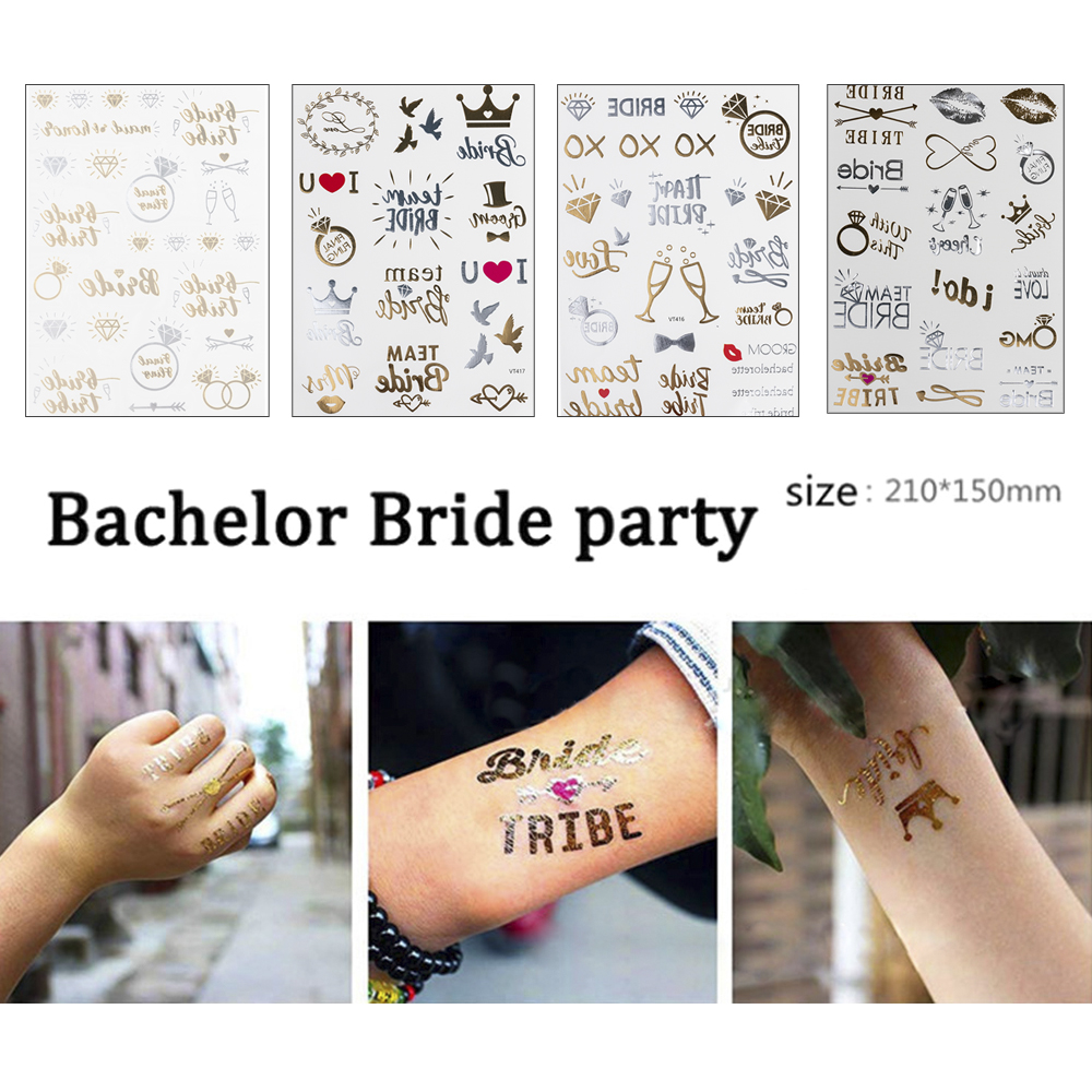 Team bride tribe Flash Temporary Tattoo Gold silver Metallic arrow Love bachelorette party Bridesmaid shower wedding decoration
