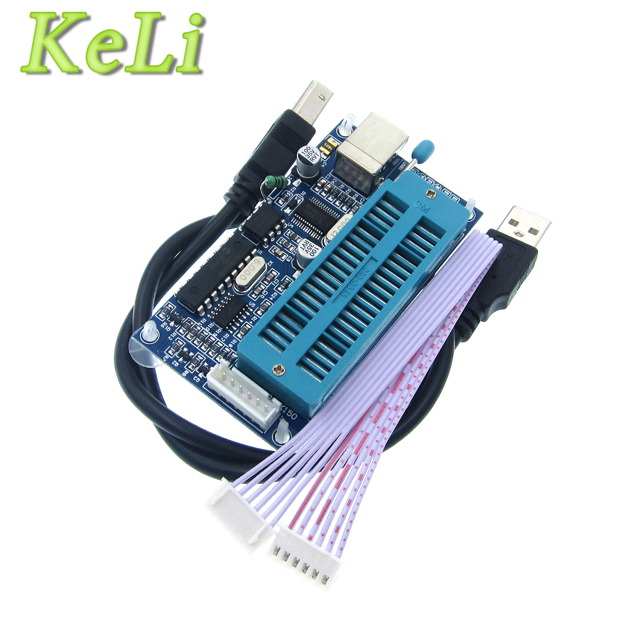 Купить со скидкой 1pcs 1set PIC K150 ICSP Programmer USB Automatic Programming Develop Microcontroller +USB ICSP cable