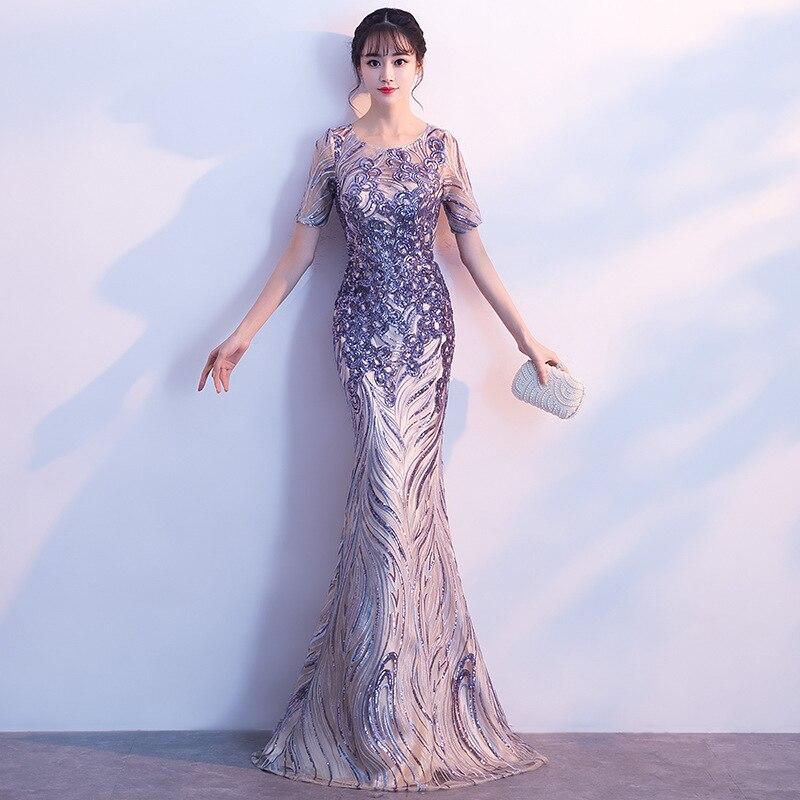 2020 Sale Vestido De Gala The New 2020 Dinner Party Fishtail High-end Host Dresses Noble Temperament Female Long Evening Dress