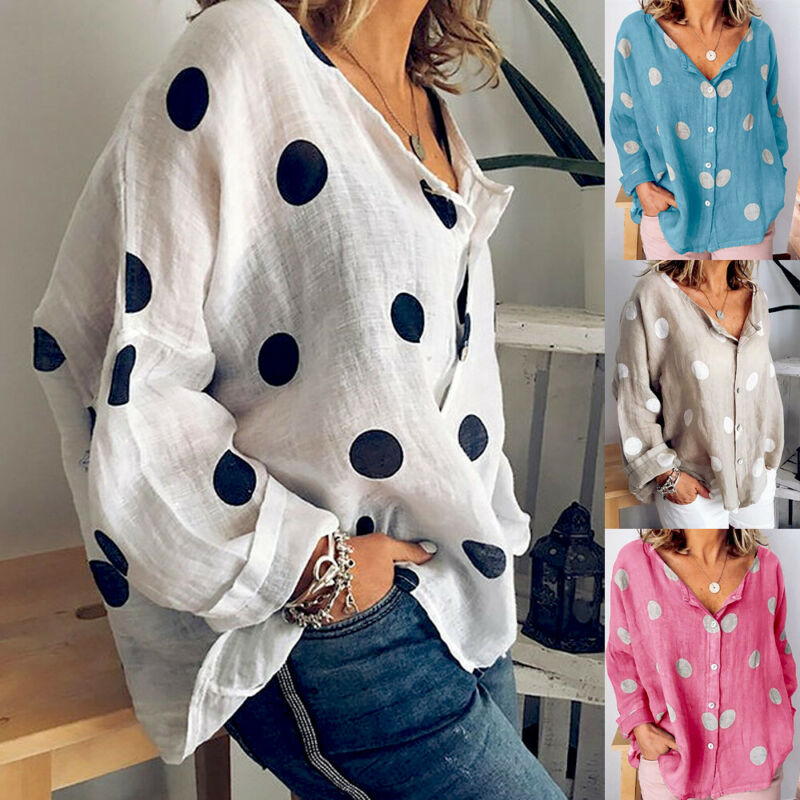 Women Blouses Spring Autumn Tops Cotton Linen Shirt Button V Neck Top Loose Long Sleeve Polka Dot Print Shirt Casual Lady Shirts