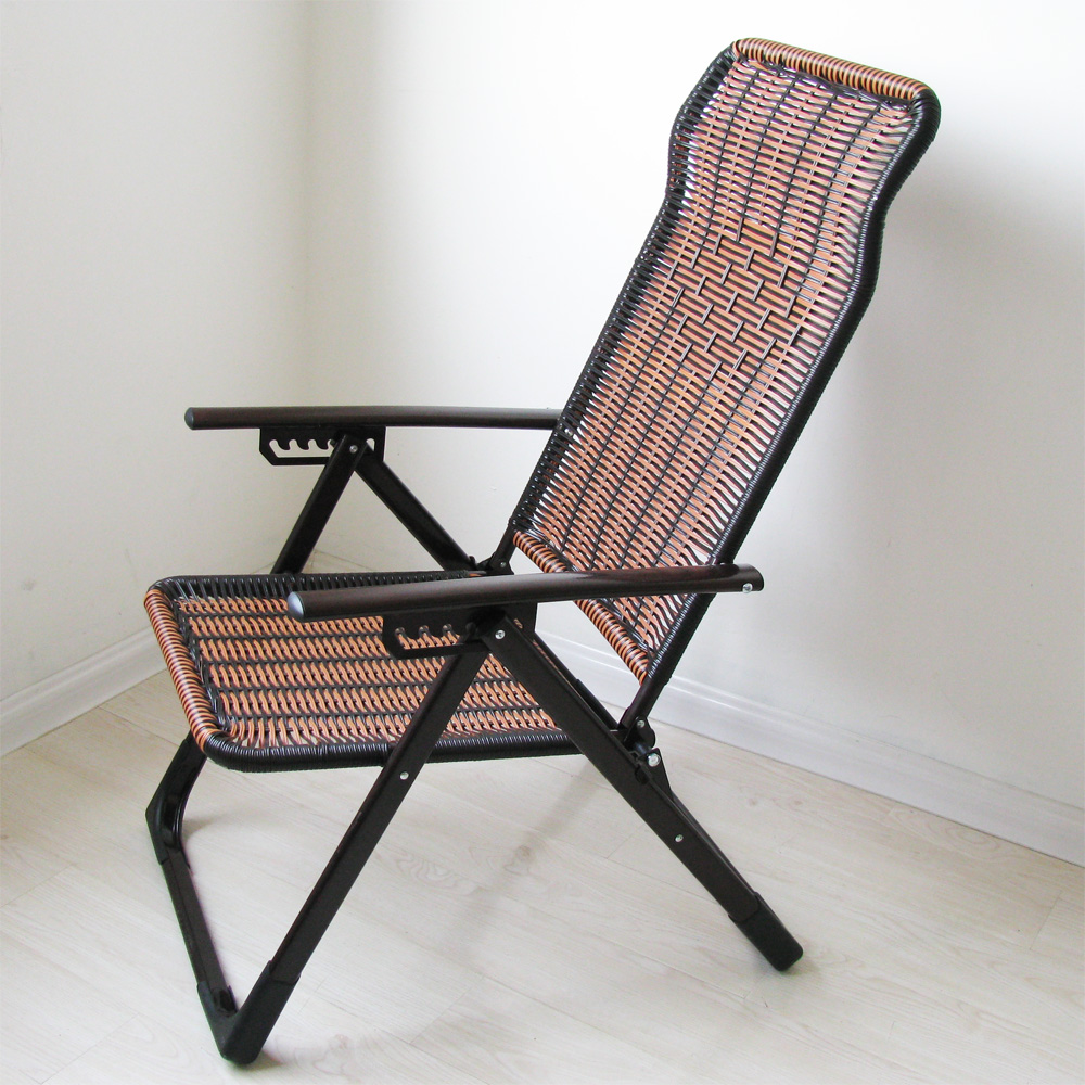 Leisure Siesta Lunch Break Back Rattan Recliner Give The Old Man Cool Gift Metal European Style Beach Folding Chair