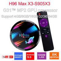 H96 MAX X3 Android 9.0 TV Box Amlogic S905X3 4GB 128GB 2.4G 5G Wifi Bluetooth4.0 HD 1000M HDMI 2.1 H96Max 8K Android Set Top Box