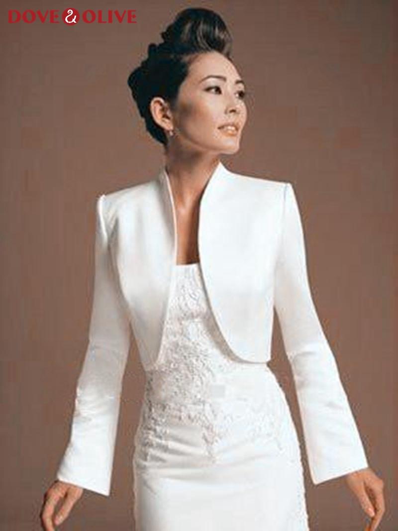Women Bolero Long Sleeve Jackets Elegant Summer Bridal Wraps Satin Evening Party Wedding Cape Plus Size 2020 Formal Cloak Capas