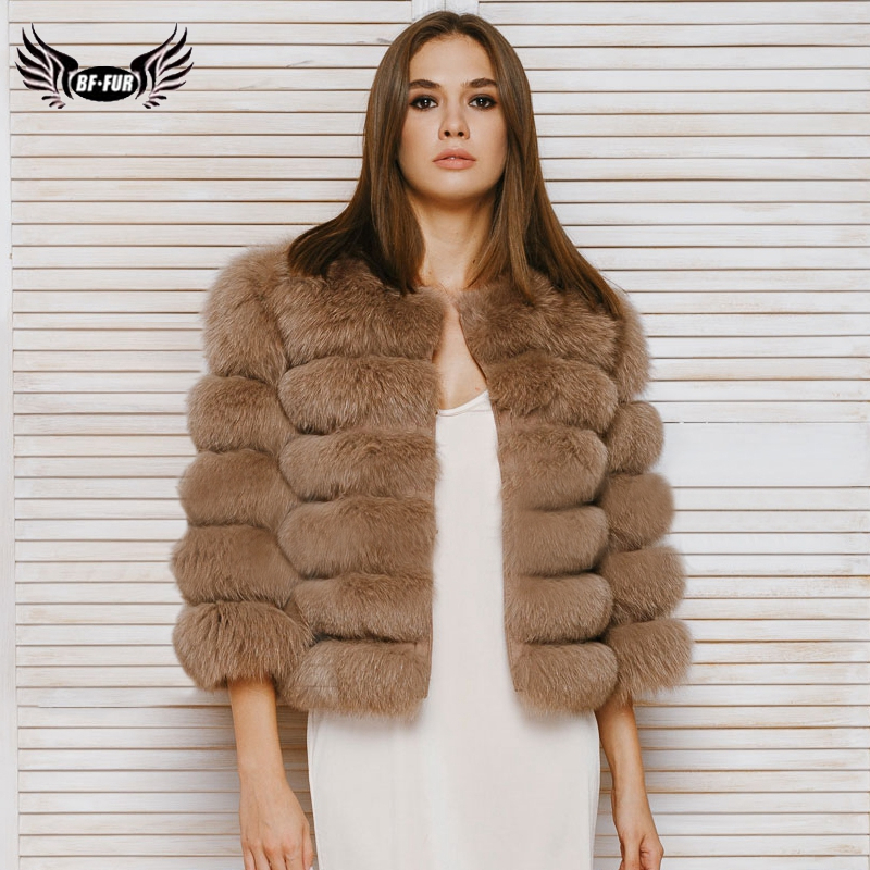BFFUR 2019 réel manteau de fourrure femmes vêtements cinq rangées court chaud veste Six rangées de mode naturel renard fourrure femelle manteaux parc avec