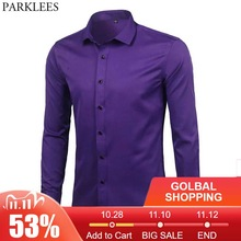 Purple Mens Bamboo Fiber Dress Shirt 2018 Brand New Slim Fit Long Sleeve Chemise Homme Non Iron Easy Care Formal Shirt For Men