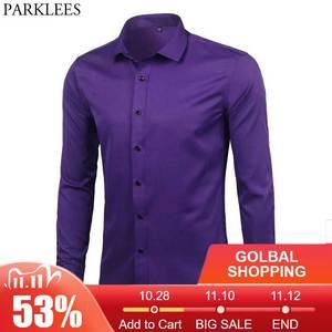 Image 1 - Purple Mens Bamboo Fiber Dress Shirt 2018 Brand New Slim Fit Long Sleeve Chemise Homme Non Iron Easy Care Formal Shirt For Men