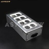 Alta fidelidade cheia de alumínio eua ac power distribuidor 8 tomada caixa de alimentação chassis caso