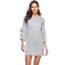цена Sisjuly Autumn Elegant Falbala Women's Bodycon Dress Pullover Knit Vintage Dress Street Wear Fashion Female Ruffle Sleeve онлайн в 2017 году