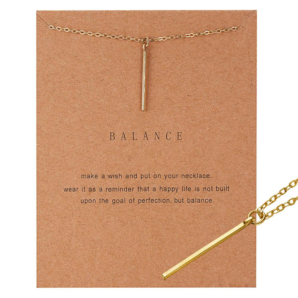Wish Card Gold-color Balance Wood Straight Bar Alloy Clavicle Pendant Short Necklace Geometric Circle Round Charm Necklace Gift image