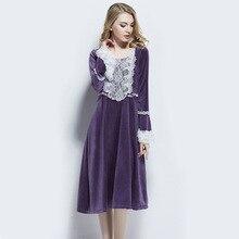 Autumn And Winter Pyjamas WomenS Sleepwear Thick Purple Velvet Court Retro Trumpet Sleeves Long Princess Nightdress L150831