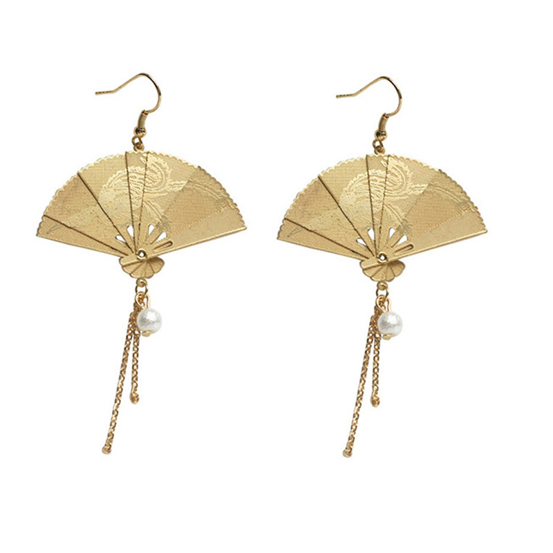 Chinese Style Folding Fan Modeling Hanging Dangle Women's Earrings Fashion Simple Prevent Allergy Ear Hook Exquisite 2019 New