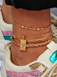 Anklet Bracelet Shoe-Accessories Charm Barefoot Sandals Snake-Chain Foot-Jewelry Iron