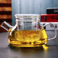 700ml feito à mão resistente ao calor de vidro de borosilicato grosso pote de chá filtro chinês kungfu chá bule xícara de chá da tarde acessório|Bules|Casa e Jardim -