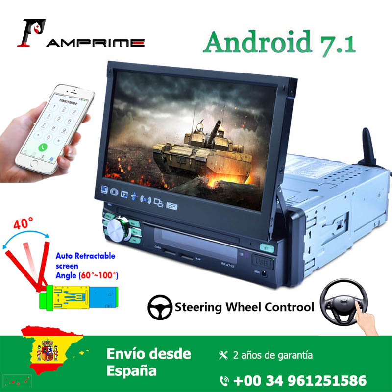 AMPrime 7'' Android 7.1 Car radio 1 din universal MP5 capacitive touch screen with Mirror link GPS Bluetooth AM FM RDS WIFI image
