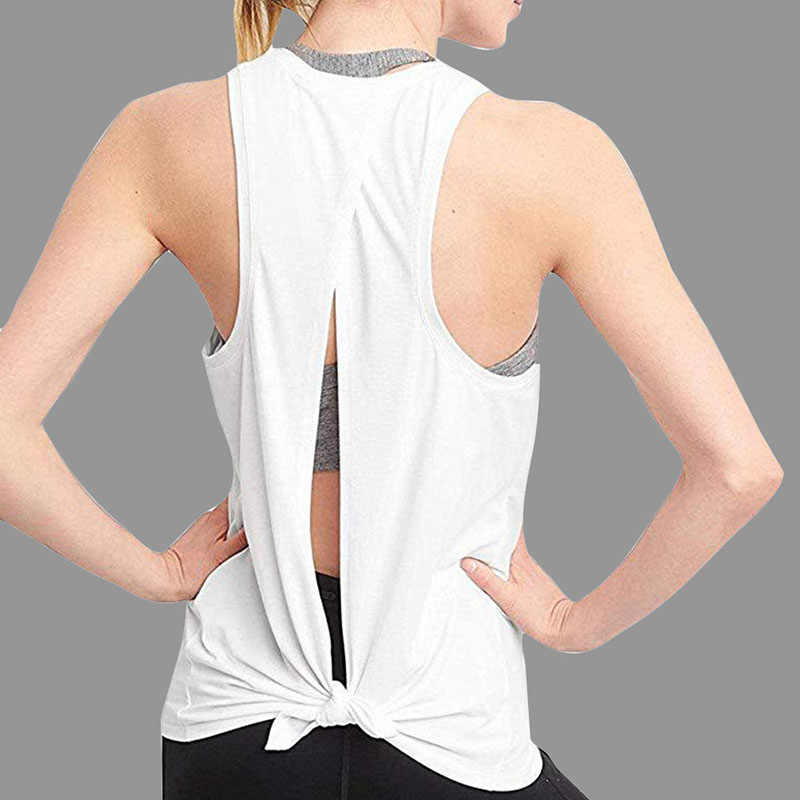 Vrouwen Sexy Open Back Sport Solid Yoga Shirts Tie Workout Racerback Tank Tops Fitness Tops Vrouwen Sport Shirt