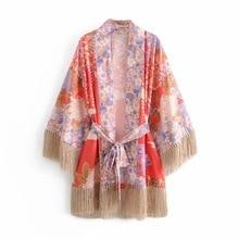 цена на Women's Chiffon Blouse Loose Tassel Tops Kimono Floral Print Cardigan Thin Section Chiffon Sun Protection Clothing Jacket Female