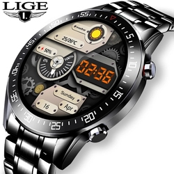 LIGE New Men Smart watch heart rate Blood pressure waterproof sports watch Fitness tracker For ios android smartwatch Men +Box