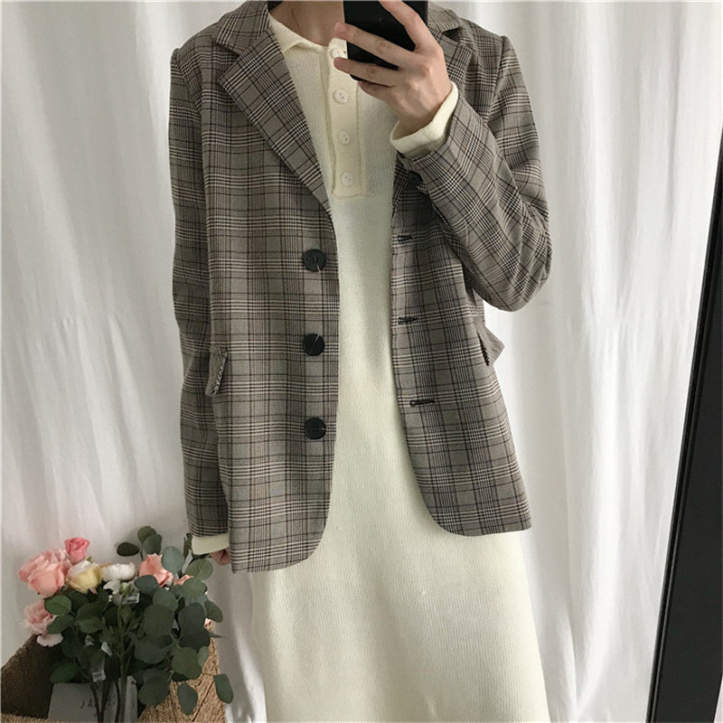 HziriP Preppy Style 2019 Plaid Slender Loose Suit Coat Elegant Office Blazers Notched Work Wear Tops Femme Women Free Blazer