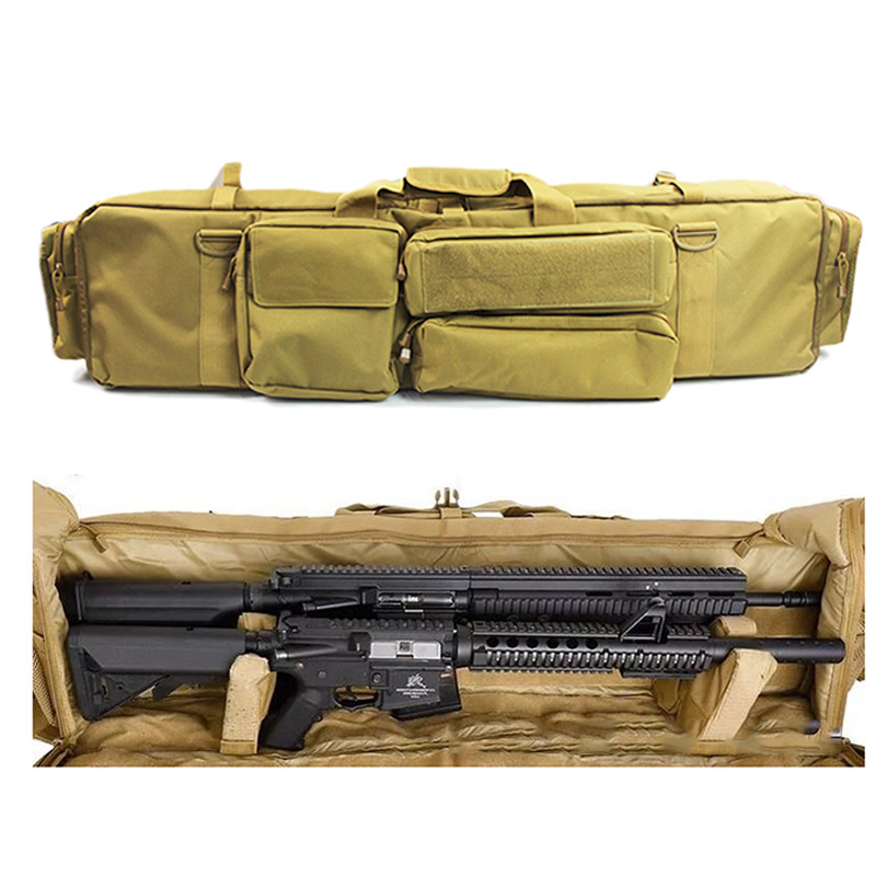 Hunting Gun Bag Backpack Double Rifle Bag Case For SAW M249 M4A1 M16 AR15 Airsoft Carbine Carrying Bag Case With Shoulder Strap