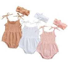 2021 Baby Summer Clothing Newborn Baby Girl Cute Clothes Strap Romper Cotton Solid Sleeveleess  Jumpsuit + Headband 2 Pcs Set