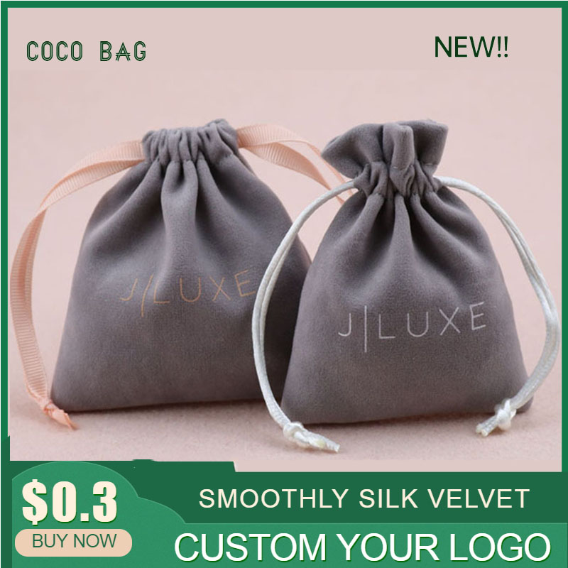 Customized Silk Velvet Drawstring Pouches With Ribbon String High Grade Small Flannel Cloth Bag  Jewelry Bead Storage Containers